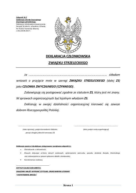 Deklaracja Członka Zwyczajnego (Czynnego) pełnoletniego strona 1 z 3
