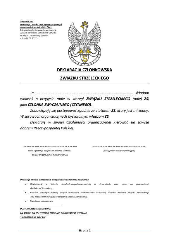 Deklaracja Członka Zwyczajnego (Czynnego) niepełnoletniego (wiek 16-17 lat) strona 1 z 3