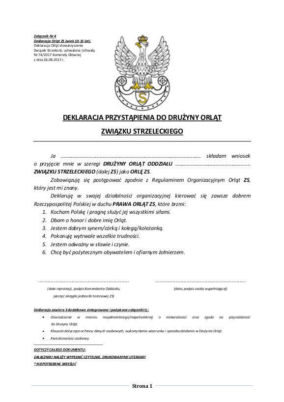 Deklaracja Orąt ZS strona 1 z 3