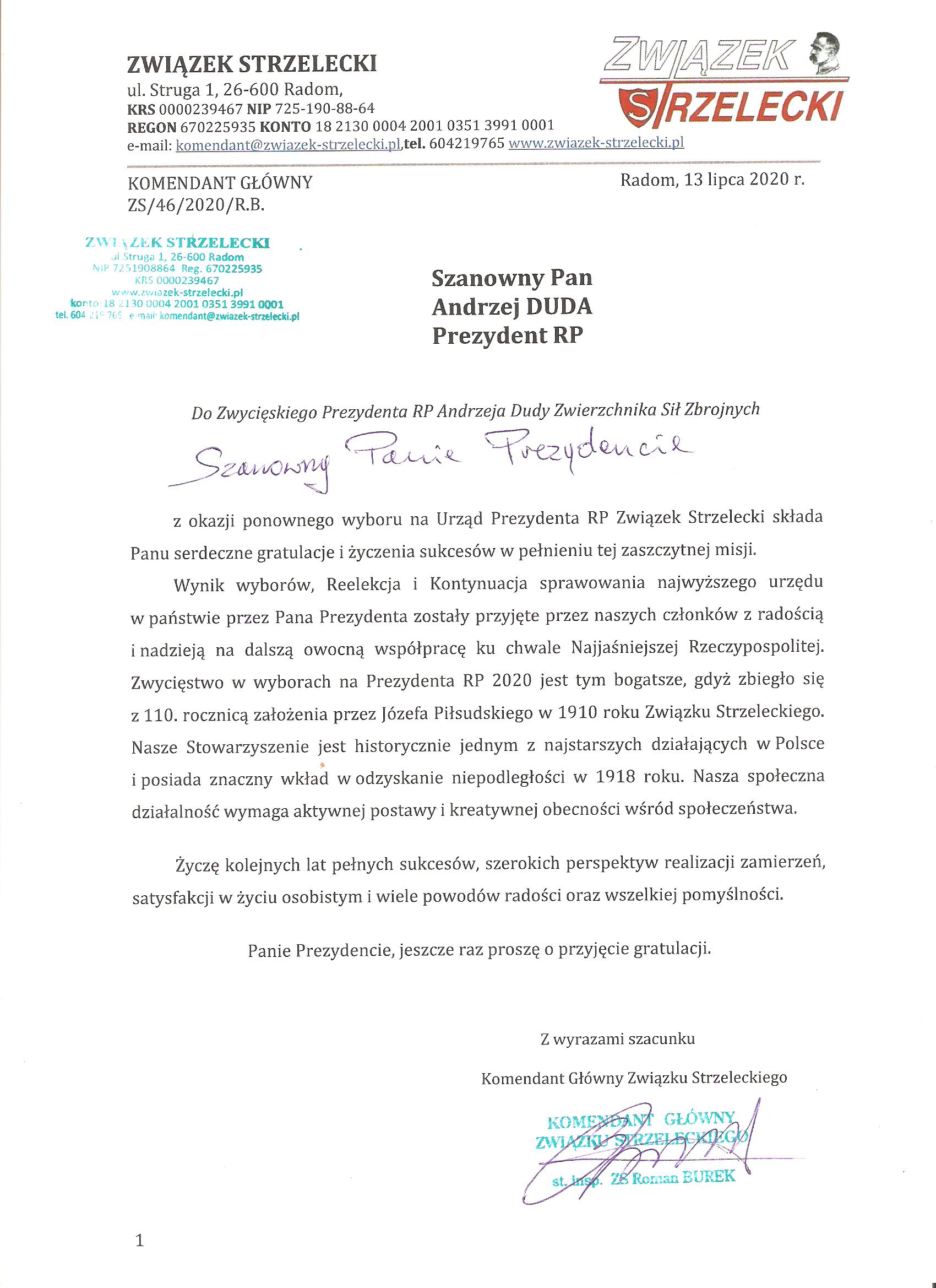 Pismo ZS do Zwycięskiego Prezydenta RP Andrzeja Dudy Zwierzchnika Sił Zbrojnych